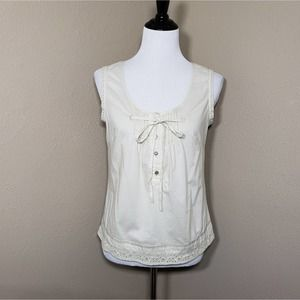 Blue Willi's Top Tank M Beige Sleeveless Eyelet